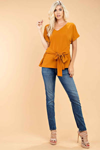 TIE AT WAIST WOVEN TOP by 143 Story