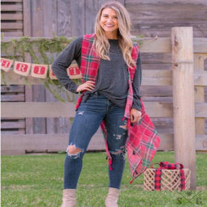 Plaid Red & Green Tunic with Tassels