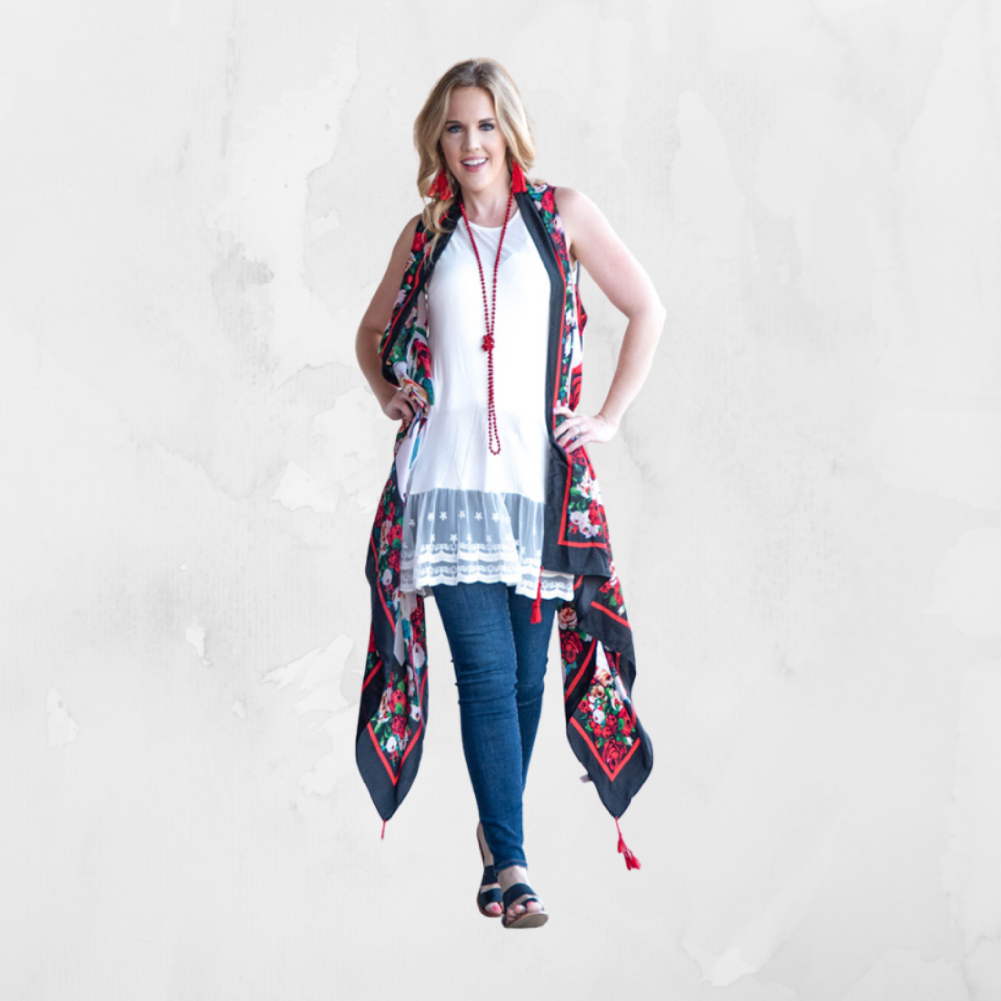 Rose Tunic with Red Tassels