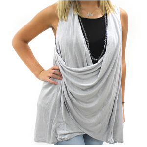 Brooks Wrap Vest in Light Gray