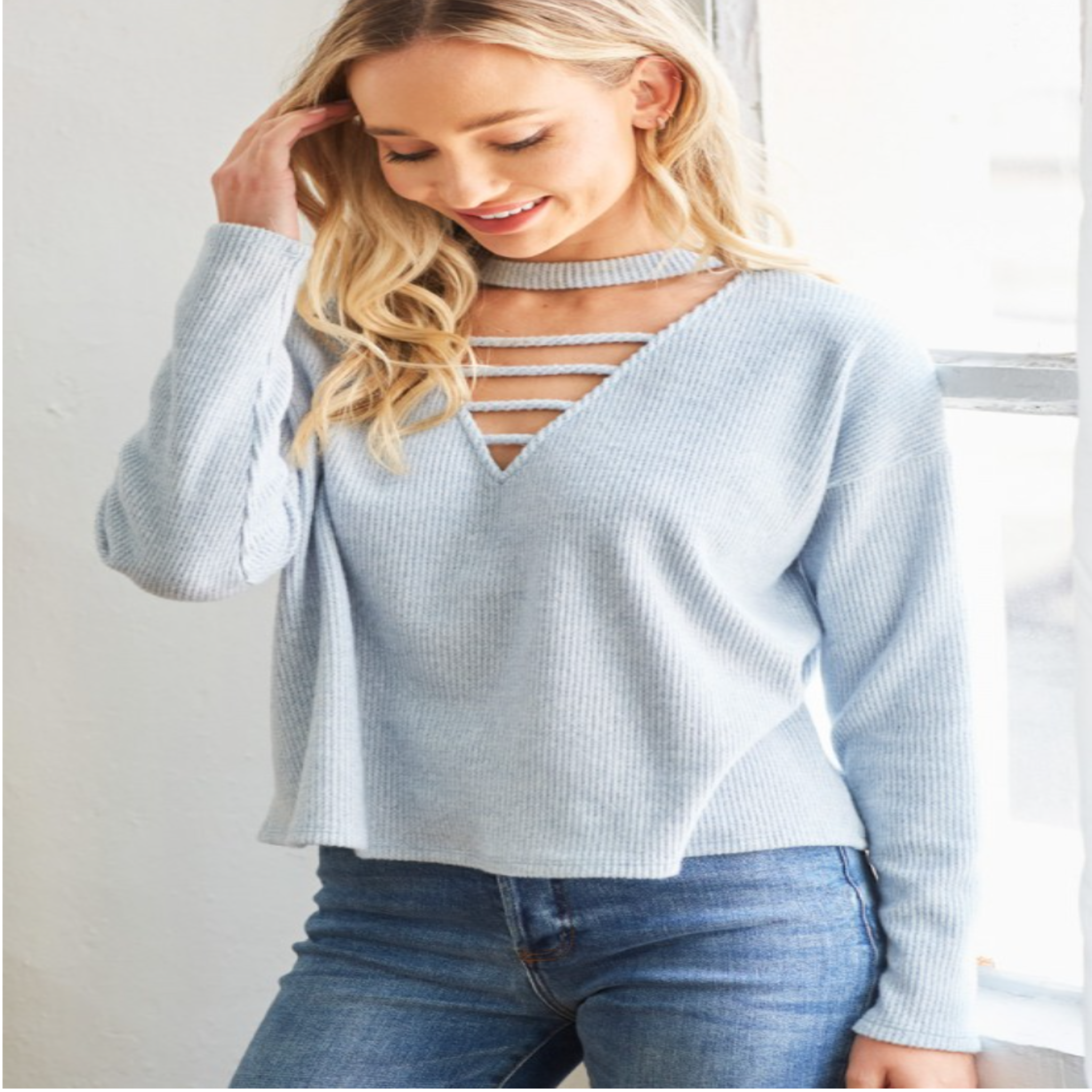 Choker Neck Ribbed Sweater