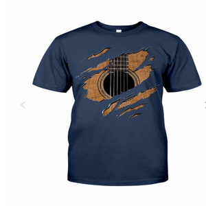 Navy Blue T Shirt with Guitar