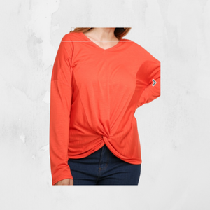 Long Sleeve Heathered V-Neck Top with Front Knot Detail