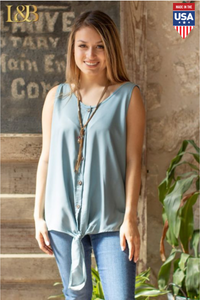 Button Down Front Tie Top