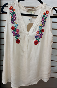Embroidered Taupe Sleeveless Shirt