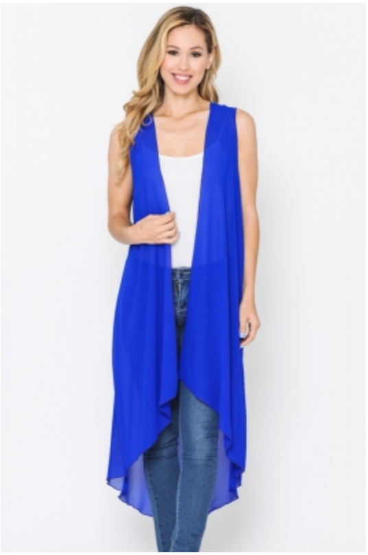 LONG SOLID OPEN VEST
