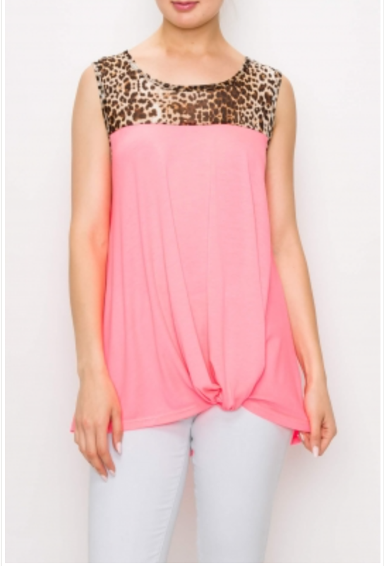 Solid and Flowers Mesh Contrast Top w/Front Knot