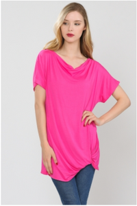 Solid Off Shoulder Tunic Top with Twist Hem