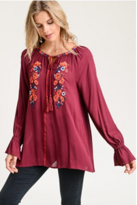 Long Sleeve Embroidered w/ Tassel Tie