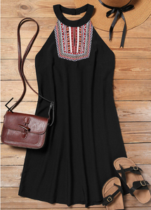 Aztec Geometric Halter Mini Dress