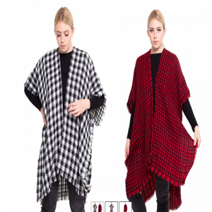 Plaid Red and Black Checkered Frayed Hem Tunic Wrap