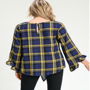 Plaid Top w/ Belled Long Sleeves & Self-Tie Knot
