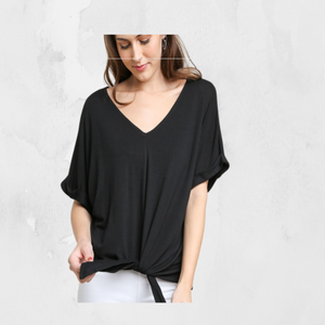 Rolled Short Sleeve V-Neck Top with Center Waist Tie  by Umgee