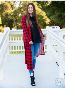 Tunic Long Red Plaid Duster