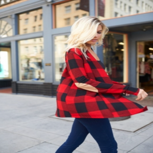 Plaid Cardigan w/ Elbow Patches