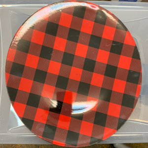 Red & Black Plaid Large Round Plate