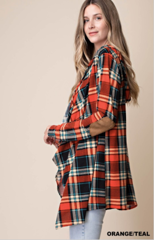 Plaid Hoody Cardigan Suede Elbows