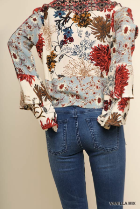 Umgee Multicolor Floral and Aztec Print Cropped Kimono Top