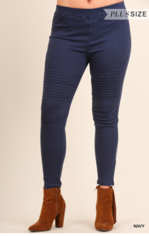 Leggings Umgee with Pintuck and Zipper Detail