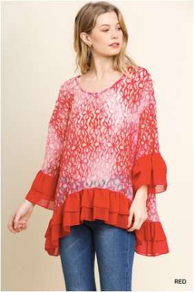 Umgee Red Floral Lace Shirt