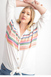 MULTI COLOR STRIPE V NECK by 143 Story