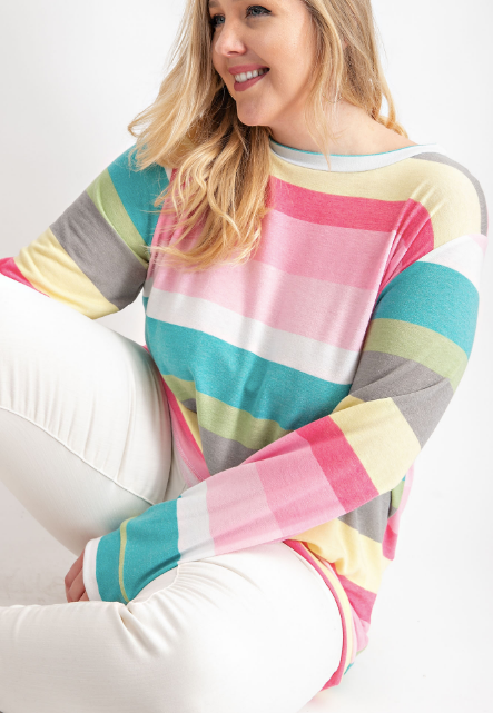 Multi Color Stripe French Terry Long Sleeve Top by 143 Story