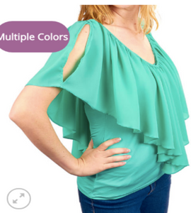 Cold Shoulder Sheer Flutter Top