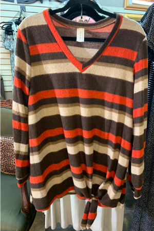 Long sleeve Orange and Brown Stripped Knotted Shirt