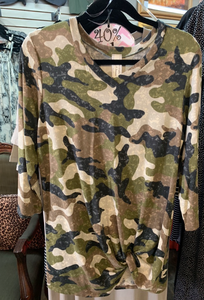 Knotted Long Sleeve Camo Shirt
