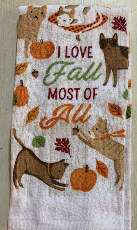 Fall Towels Cats and Dogs