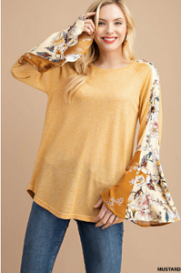 Solid Knit Top with Floral Sleeves by Kori