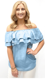 Denim Ruffle Off Shoulder Top