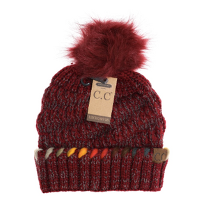 CC Beanie Pom Fur Lined Lined Ombre Thread Accent