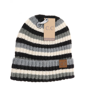 CC Beanie Multi Color Striped Ribbed