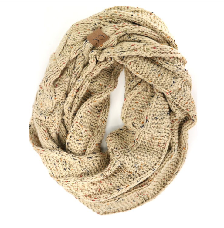 CC Scarf Cable Infinity Flecked