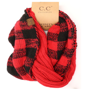 CC Scarf Cable Infinity Buffalo Check