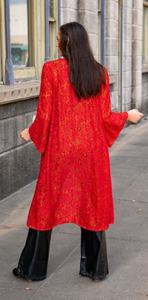 RED & MUSTARD CONTRAST LACE DUSTER TUNIC by L&B