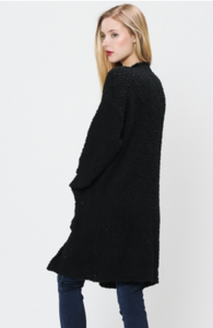 Solid Open Popcorn Cardigan Sweater by L love