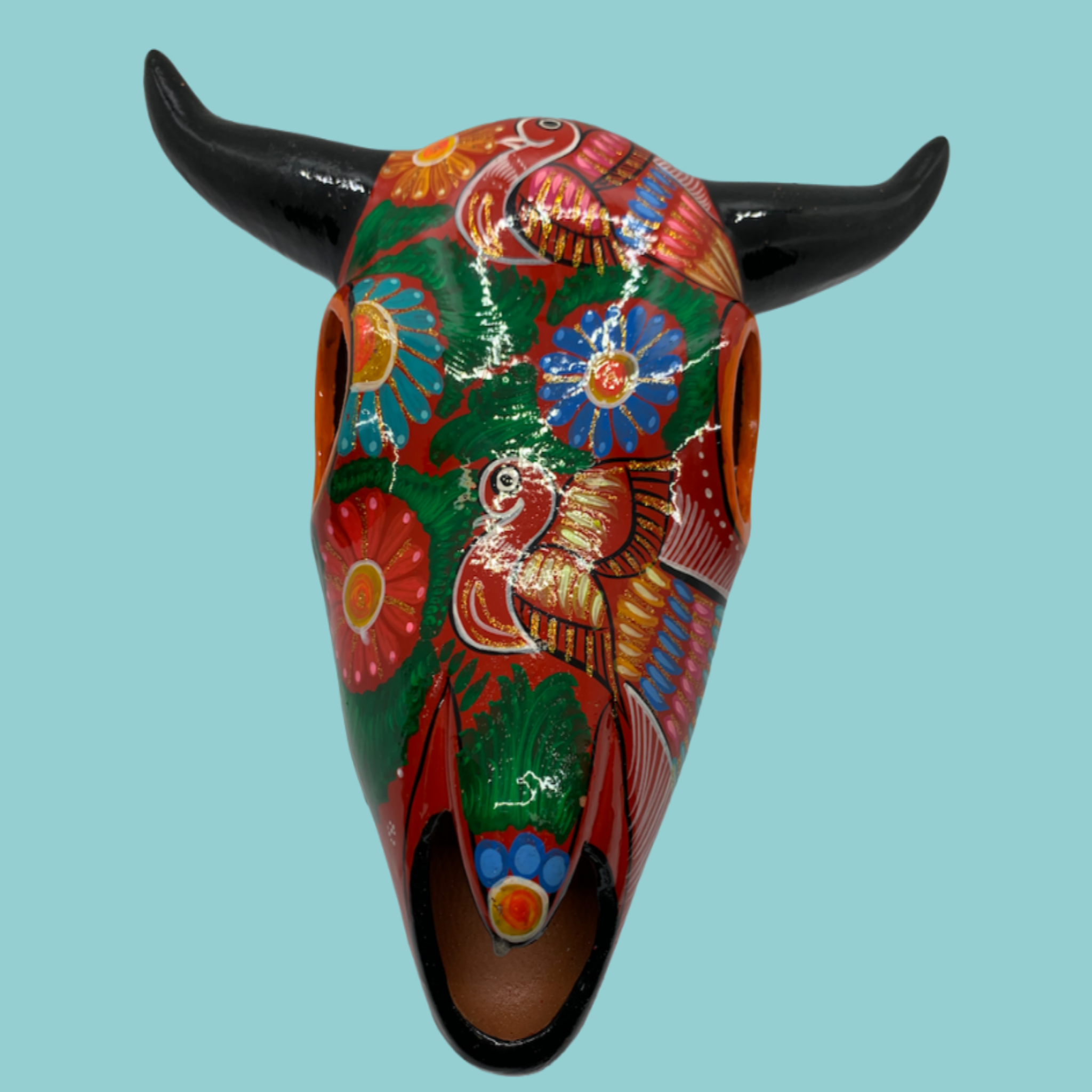 Decorated Ceramic Cow Skull