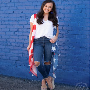 America Red White & Blue Flag Tunic