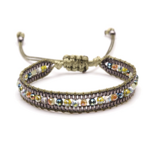 Boho Multicolored Faceted Crystal Japan Miyuki Glass Seed Beads Woven Bracelet