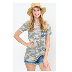 Camo Print Top with Star Chest Pocket & Twisted Hem