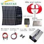 10pcs 100W Flexible Solar Modules+400W Vertical Wind Generator with 6000W Inverter and Controllers 1400W Wind Solar Power System