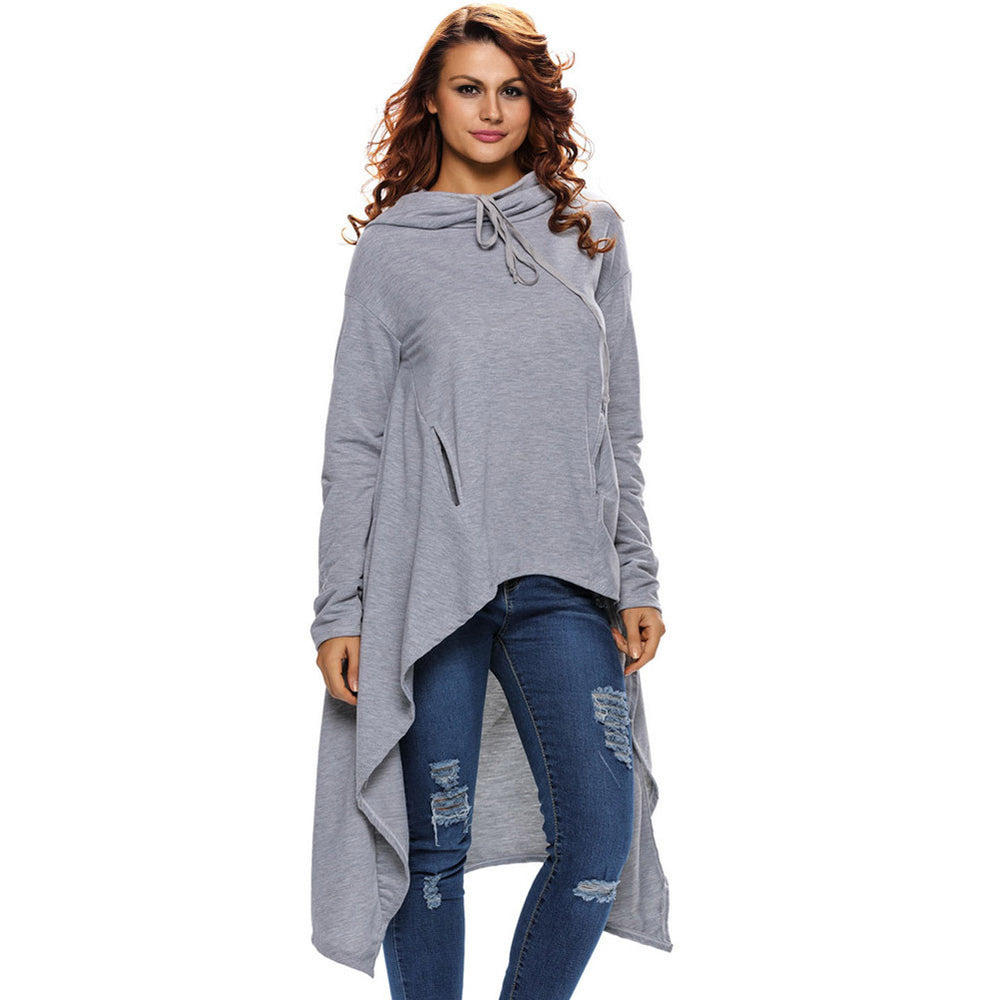 Women's Long Pullover Hoodie Irregular Overcoat Long Sleeve Hooded Sweatshirts New Trendy Sweater Top Jacket