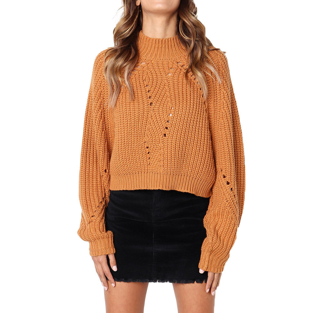 Women Winter Fashion Long Sleeve Knitted Solid Tops Loose Sweater Blouse