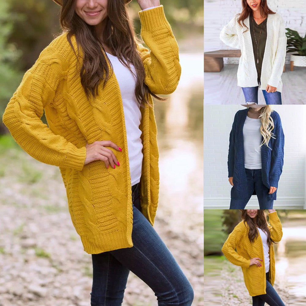 Women's Long Sleeve Knitwear Open Front Cardigan Sweaters Casual Outerwear