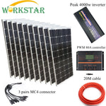 10*100W Glass Solar Panels with 80A Controller and 4000W Inverter Complete 1000W Off Grid solar System Kit 20 Years Lifetime