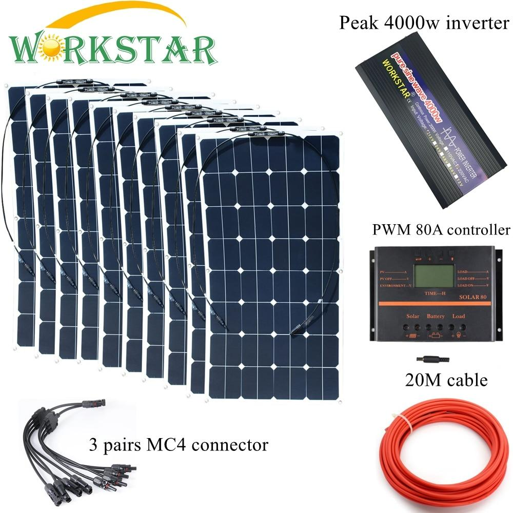10*100W Sunpower Flexible Solar Panels with 80A Controller and 4000W Inverter Complete 1000W Off Grid solar System Kit