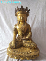 High 48CM Super Big Buddha Sculpture!!!Asian Antique Art Collection Crafts,Chinese Old Brass Longevity Buddha Statue