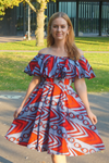 Reblue off-shoulder Ankara dress